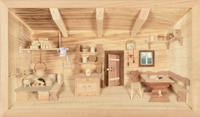 3d holzbild bauernstube natur 44x26cm besondere geschenke. Black Bedroom Furniture Sets. Home Design Ideas