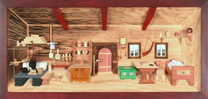 3d holzbild bauernstube lasiert 58x27cm besondere geschenke. Black Bedroom Furniture Sets. Home Design Ideas
