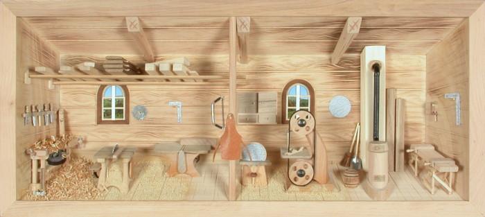 3d holzbild schreinerei tischlerei natur 58x26cm besondere geschenke. Black Bedroom Furniture Sets. Home Design Ideas