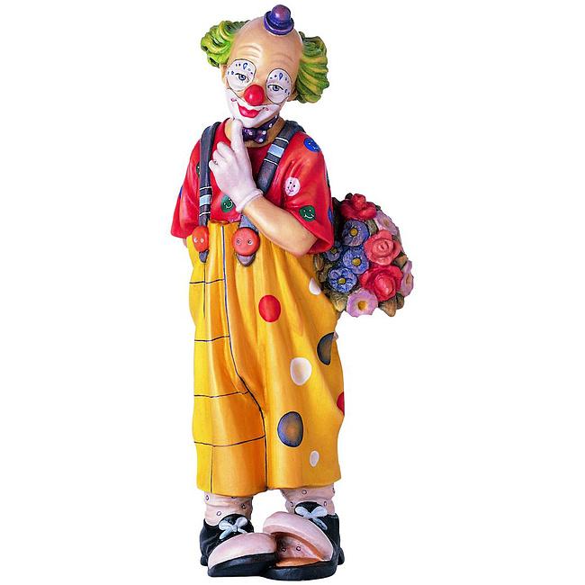 Clown Mit Blumenstrauß Aus Ahornholz Geschnitzte Figur 9cm Hoch